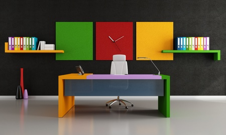 interior design office: contemporary colorful work space  - rendering Stock Photo