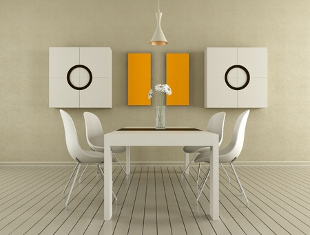 Minimalist beige dining room - rendering photo