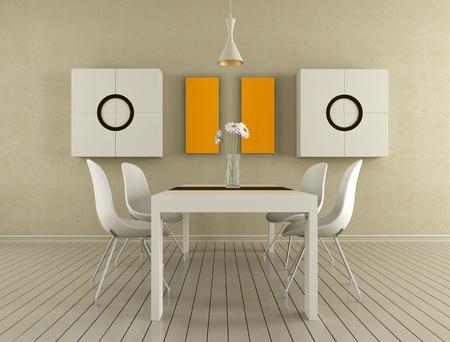 Minimalist beige dining room - rendering Stock Photo - 12963451