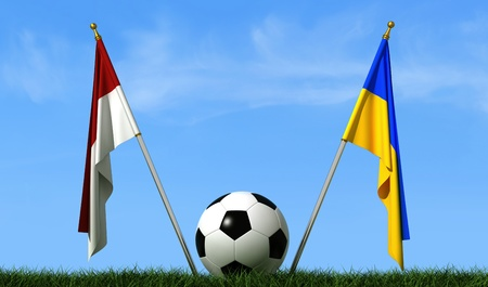 flagstaff: Flags of Ukraine and Poland on a lawn and a soccer ball-rendering