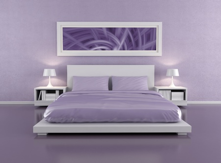 minimalist  lilac bedroom - rendering - the art picture on wall is a my image  photo