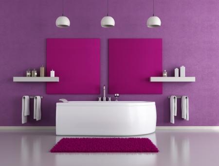 tap room: contemporary purple bathroom with white bathtub Stock Photo