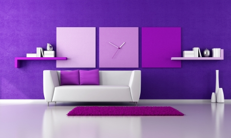 living room design: minimalist purple livingroom with white couch - rendering