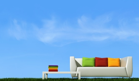 white couch with colorful cushion over grass against blue sky - rendering photo