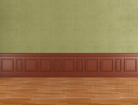 Empty classic interior with boiserie and parquet - rendering Stock Photo - 13086210