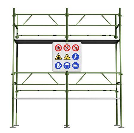 andamios: Verde andamio con letrero de seguridad aislado en blanco