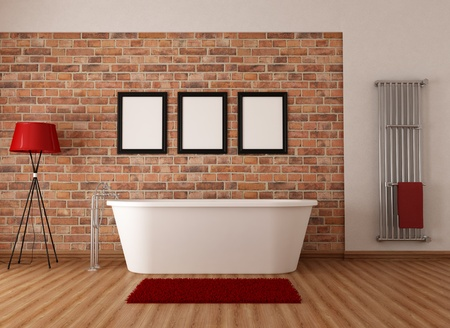 Vintage bathroom with white simple bathtub and  brick wall - rendering photo