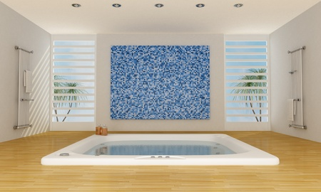 Modern luxury bathroom with big bathtub and mosaic wall - rendering photo