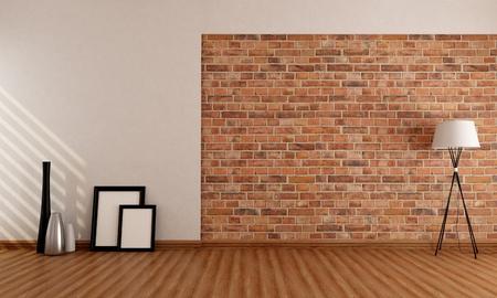 brick floor: Sala vac�a con jarr�n viejo marco pared de ladrillo y una l�mpara en el piso de parquet - representaci�n Foto de archivo