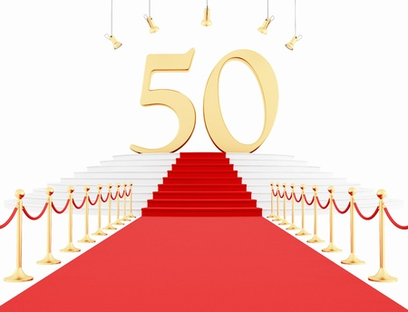 50 number: Fiftieth anniversary with red carpet isolated on white-rendering