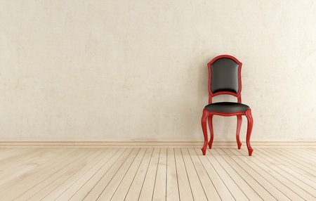 bright interior with classic chair against wall - rendering  Stock Photo - 13424709