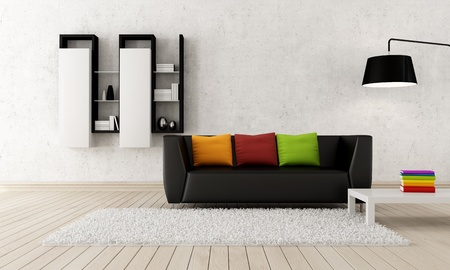 Colorful contemporary living room with black leather couch - rendering