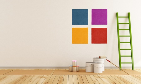 paint box: select color swatch to paint wall in a white room - rendering