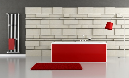 red bathtub in front at stone panel - rendering photo