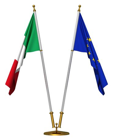 Flags of Italy and European union on golden pedestal isolated on white photo