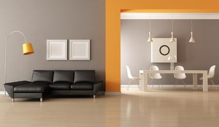 jídelna: moderní obývací pokoj s jídelním prostorem - vykreslování Reklamní fotografie