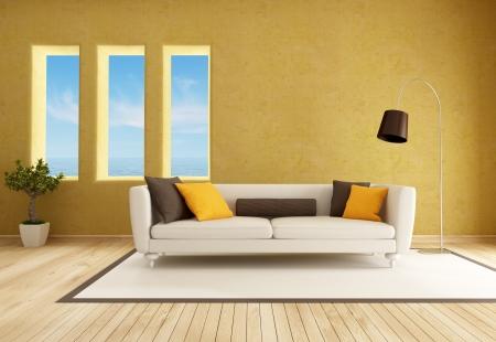 ocher: yellow living room with elegant sofa - rendering Stock Photo