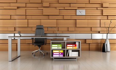 contemporary office with modern desk and wooden panel-rendering photo