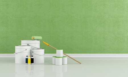 freshly: green room freshly painted with a brush roller and paint cans - rendering