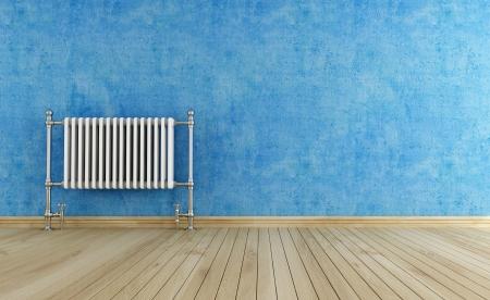 warm water: blauwe lege interieur met vintage heet water radiator-rendering