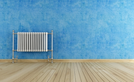 blue empty interior with vintage hot water  radiator -rendering Stock Photo - 13871937