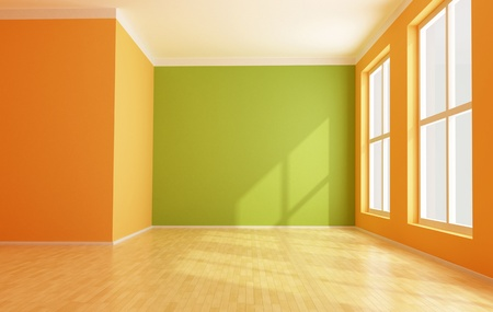 empty green and orange modern interior Stock Photo - 14098155