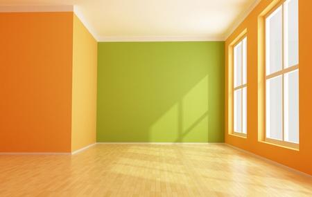 empty green and orange modern interior Stock Photo - 14098155