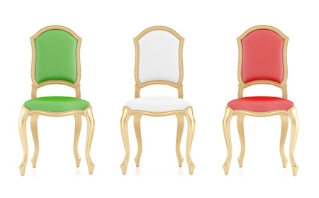 three classic chairs with Italian flag colors isolated on white - rendering photo