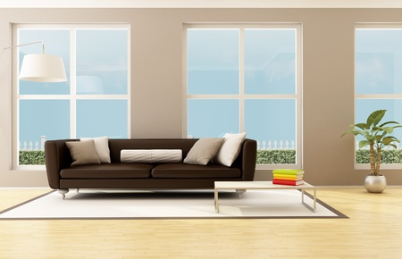 bright living room with brown sofa and big windows - rendering photo