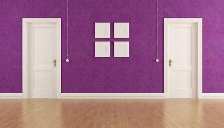 purple interior with two classic doors - rendering Stock Photo - 14098154