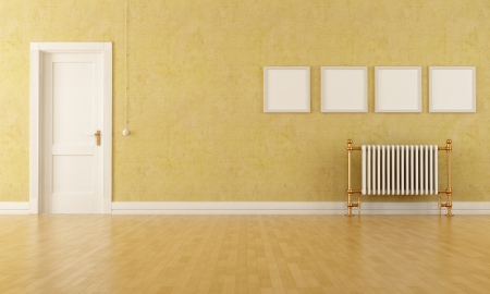 stucco: Vintage room with classic door and old radiator Stock Photo