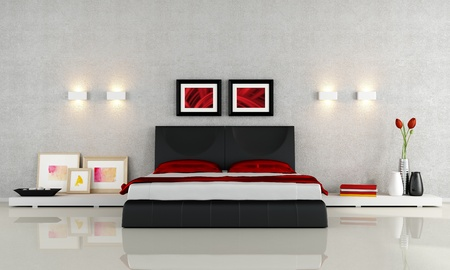 double bed: Modern black and red bedroom - rendering