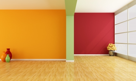 red green and orange minimalist empty interior - rendering photo