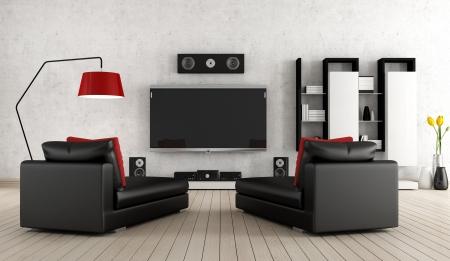 home theater: Soggiorno con apparecchiature home cinema Archivio Fotografico