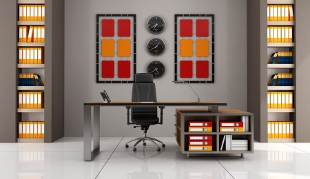 contemporary office with modern desk - rendering photo