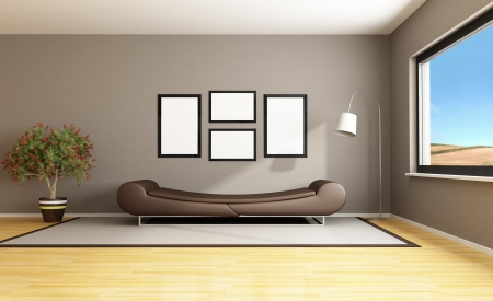 Brown livingroom with fashion couch - rendering- the image on background is a my photo Stock Photo - 14274896