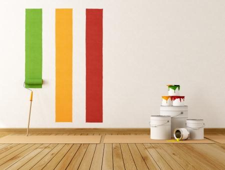 ペイントするカラー スワッチを選択壁 - レンダリング 写真素材