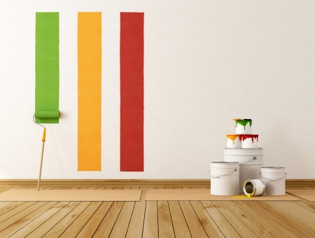 home decorating: select color swatch to paint wall - rendering