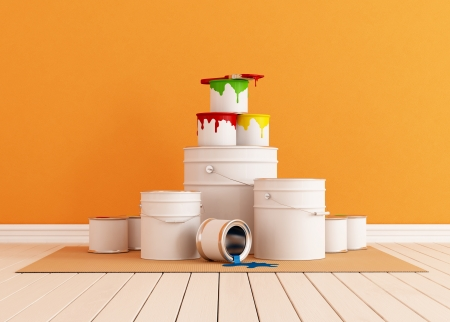 buckets: Orange room freshly painted with a brush and paint cans - rendering Stock Photo