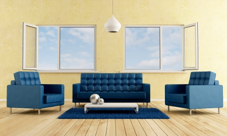 Modern livingroom with blue sofa and armchairs-rendering Stock Photo - 14386881