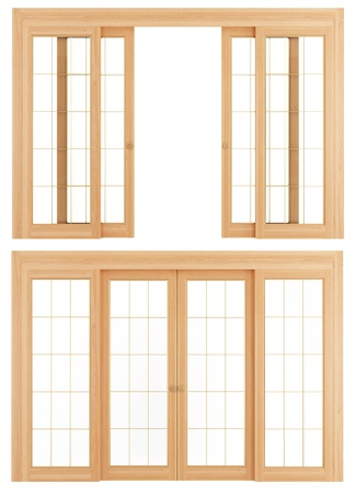 sliding door: Open and close  wooden sliding doors isolated on white - rendering