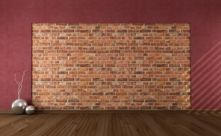 empty grunge interior with old brick wall - rendering Stock Photo - 14386885