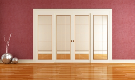 glass doors: Dusky red room with closed sliding door - rendering
