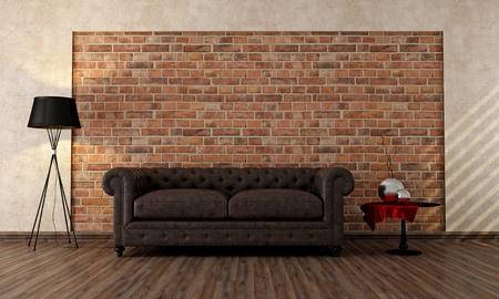 divano: soggiorno con divano d'epoca classica contro il muro di mattoni - rendering
