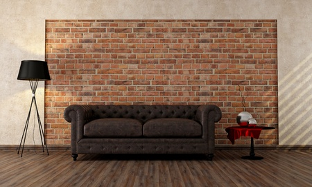 old interior: vintage livingroom with classic couch against brick wall - rendering