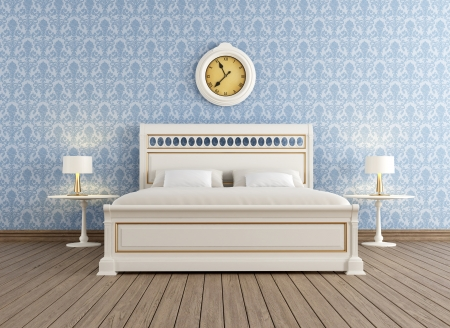 double bed: Vintage bedroom  with white elegant double bed - rendering