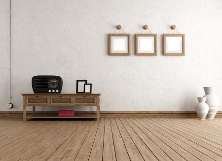 parquet floors: Vuoto d'epoca con interni vecchia radio e cornice - rendering