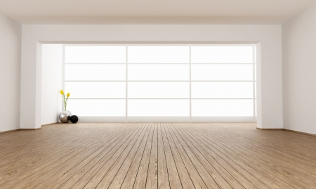 Empty minimalist room with big window - rendering photo