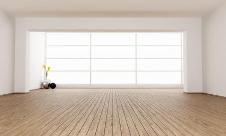 Leere minimalistische Zimmer mit großem Fenster - Rendering