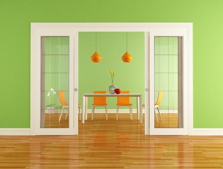 puerta verde: comedor verde y naranja sala con la puerta abierta deslizante - representaci�n